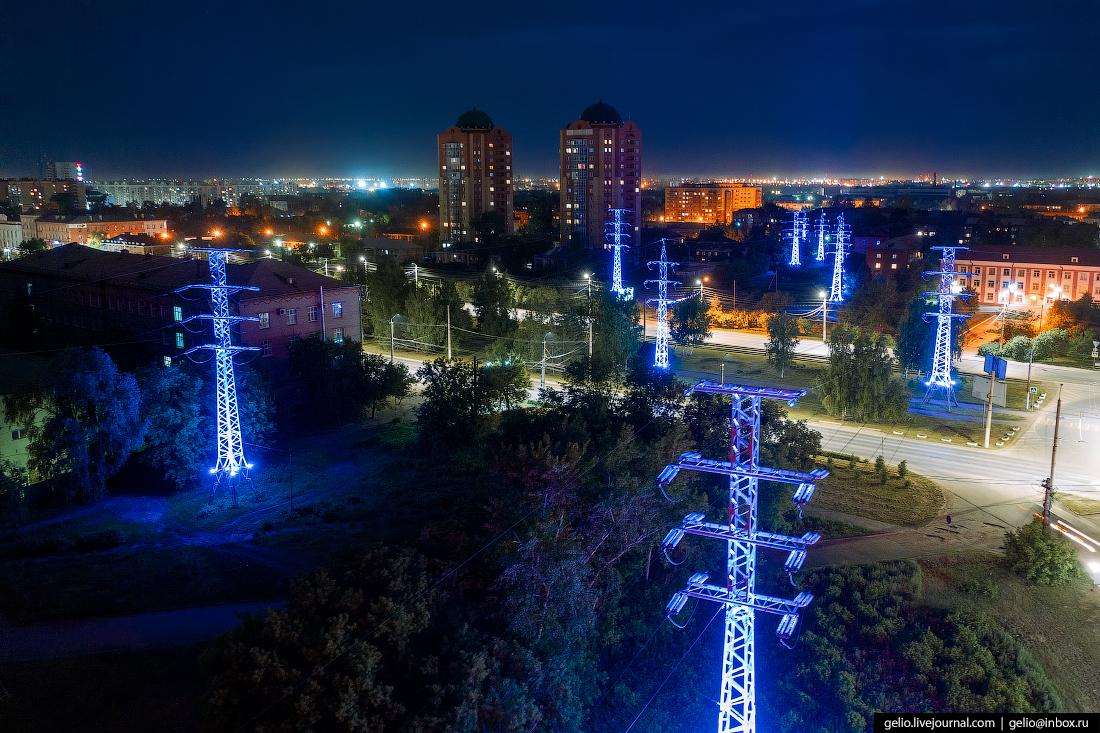Фото Омска с высоты опоры лэп Масленникова