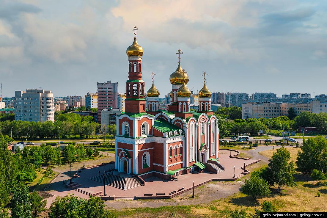 Фото Омска с высоты Собор Рождества Христова