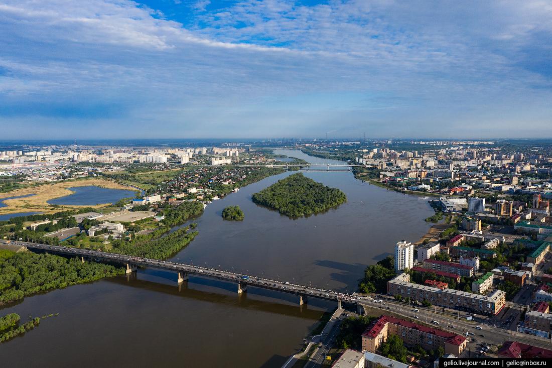 Фото Омска с высоты Ленинградский мост