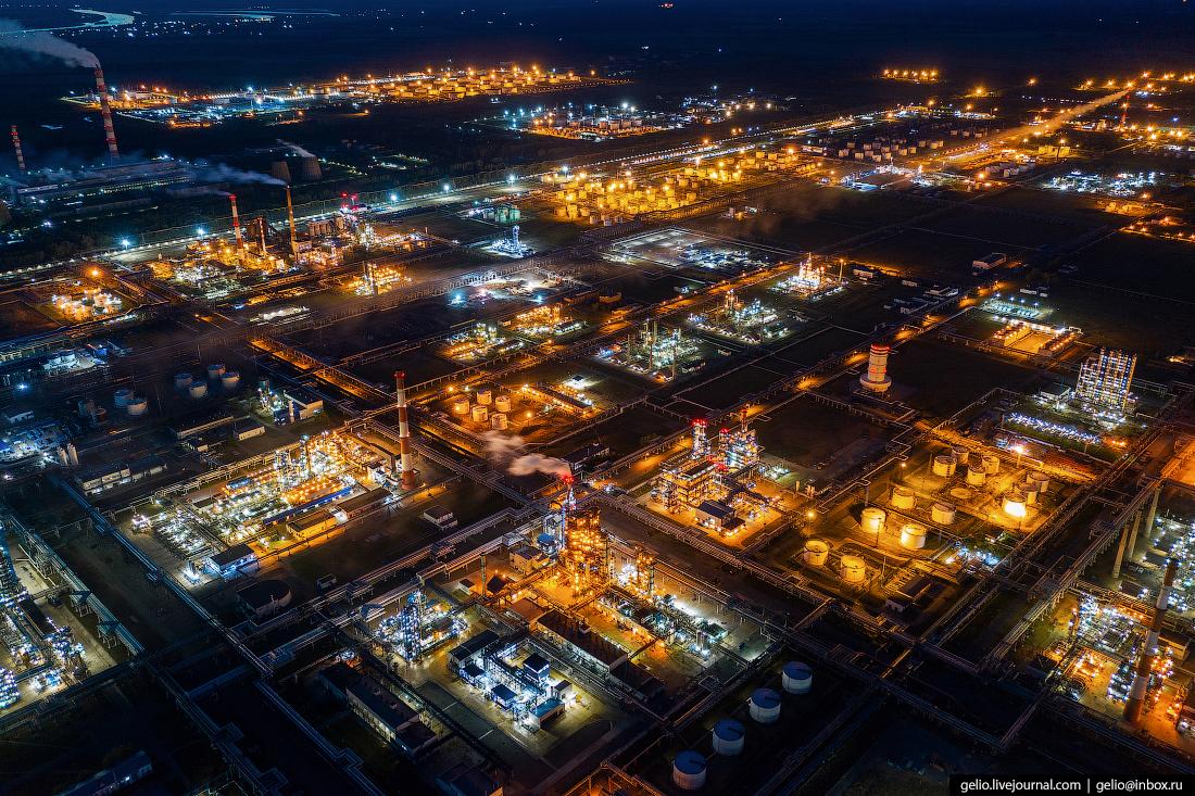 Фото Омска с высоты нефтеперерабатывающий завод ОНПЗ