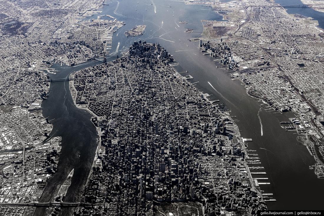 Нью-Йорк из окна самолёта, Манхэттен из иллюминатора