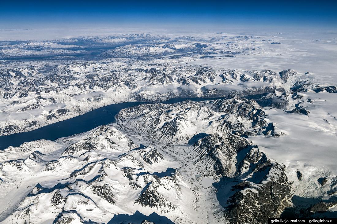 Гренландия, из окна самолёта, из иллюминатора