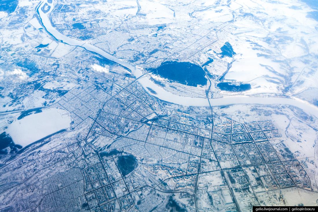 Зимний Кемерово из окна самолёта, из иллюминатора