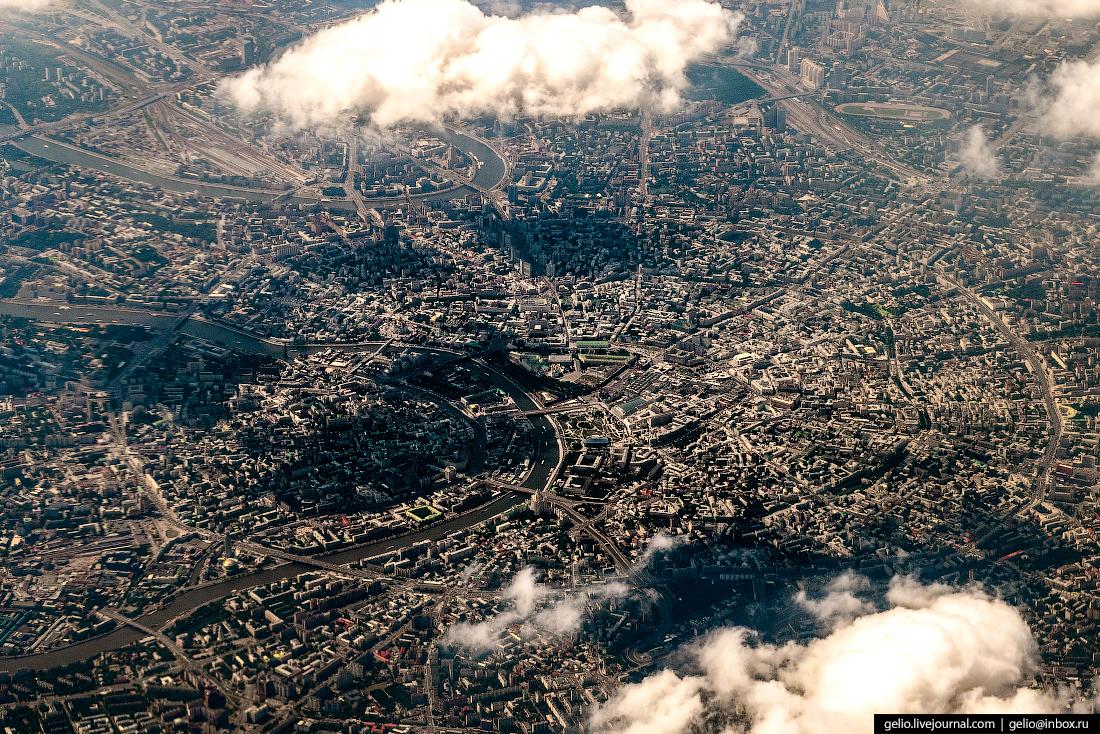 Москва из окна самолёта, из иллюминатора