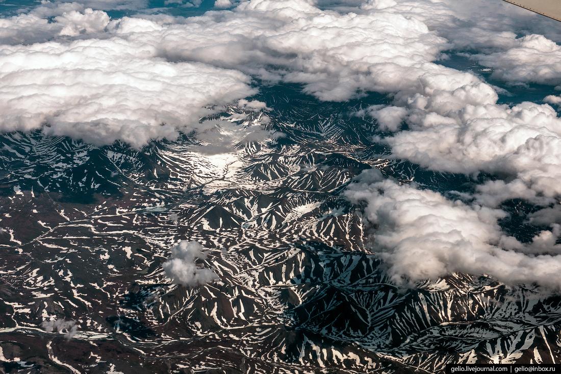 Фотографии из окна самолёта Чукотка