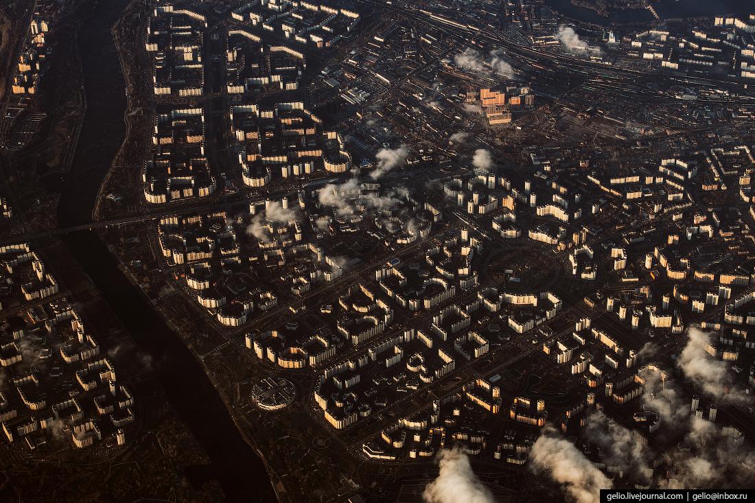 Фотографии из окна самолёта Район Марьино на юге Москвы