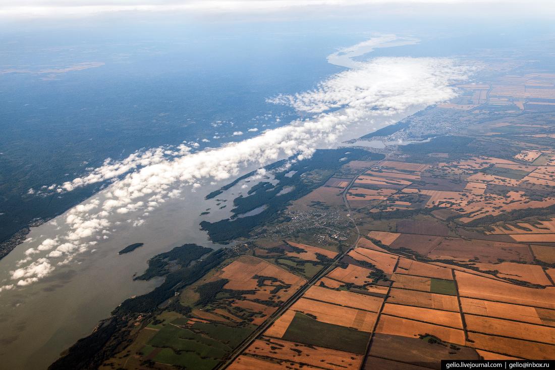 Фотографии из окна самолёта Новосибирское водохранилище