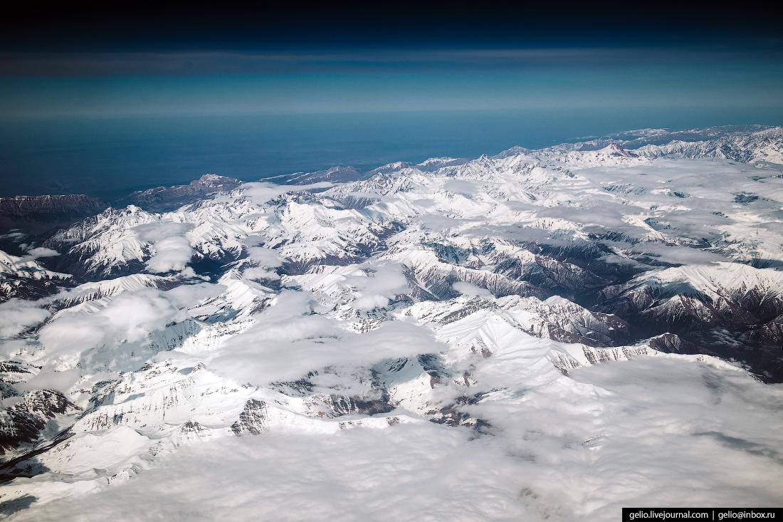 Фотографии из окна самолёта Граница России и Грузии