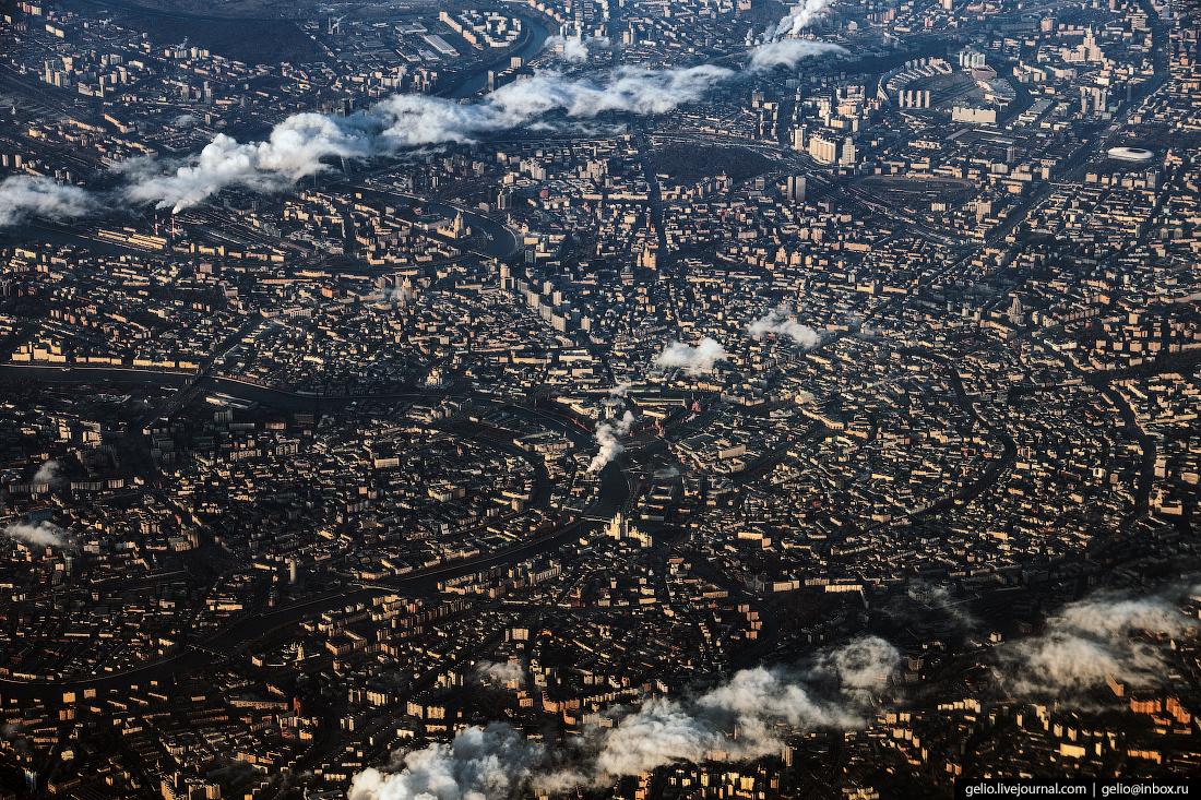 Фотографии из окна самолёта Москва. Садовое кольцо