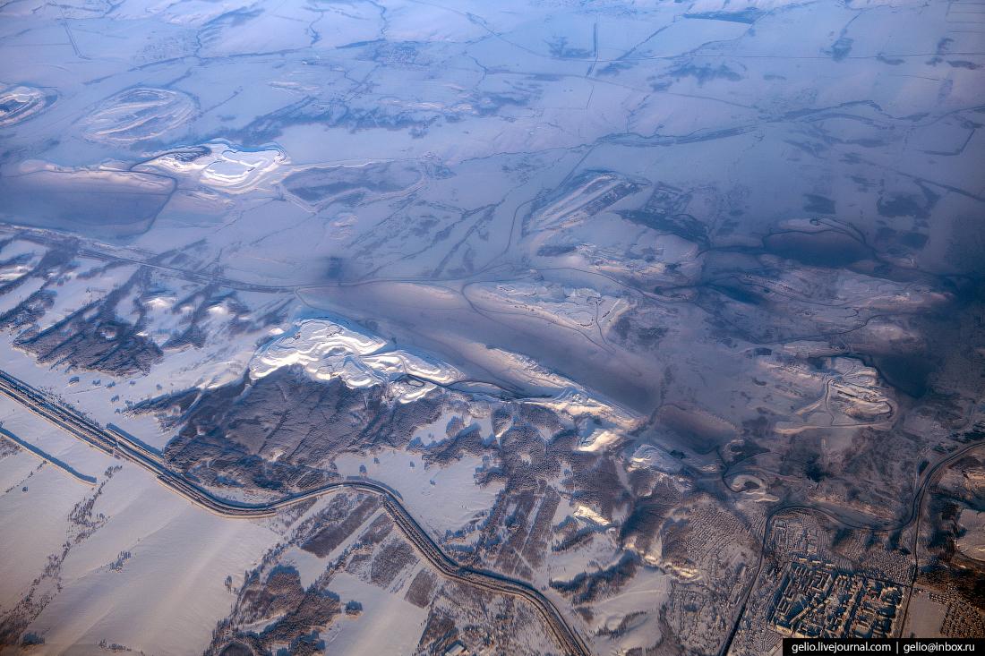 Фотографии из окна самолёта Краснобродский угольный разрез