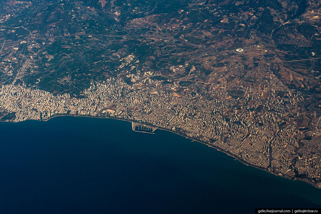 Фотографии из окна самолёта Турецкий город Мерсин