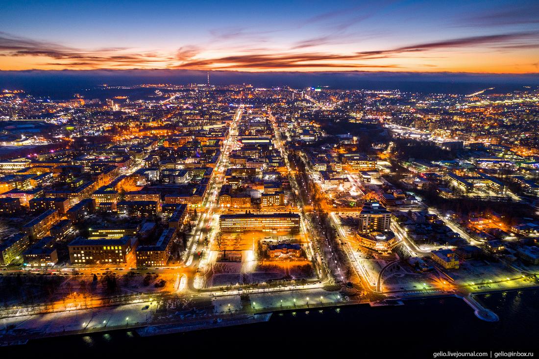Петрозаводск с высоты, онежская набережная