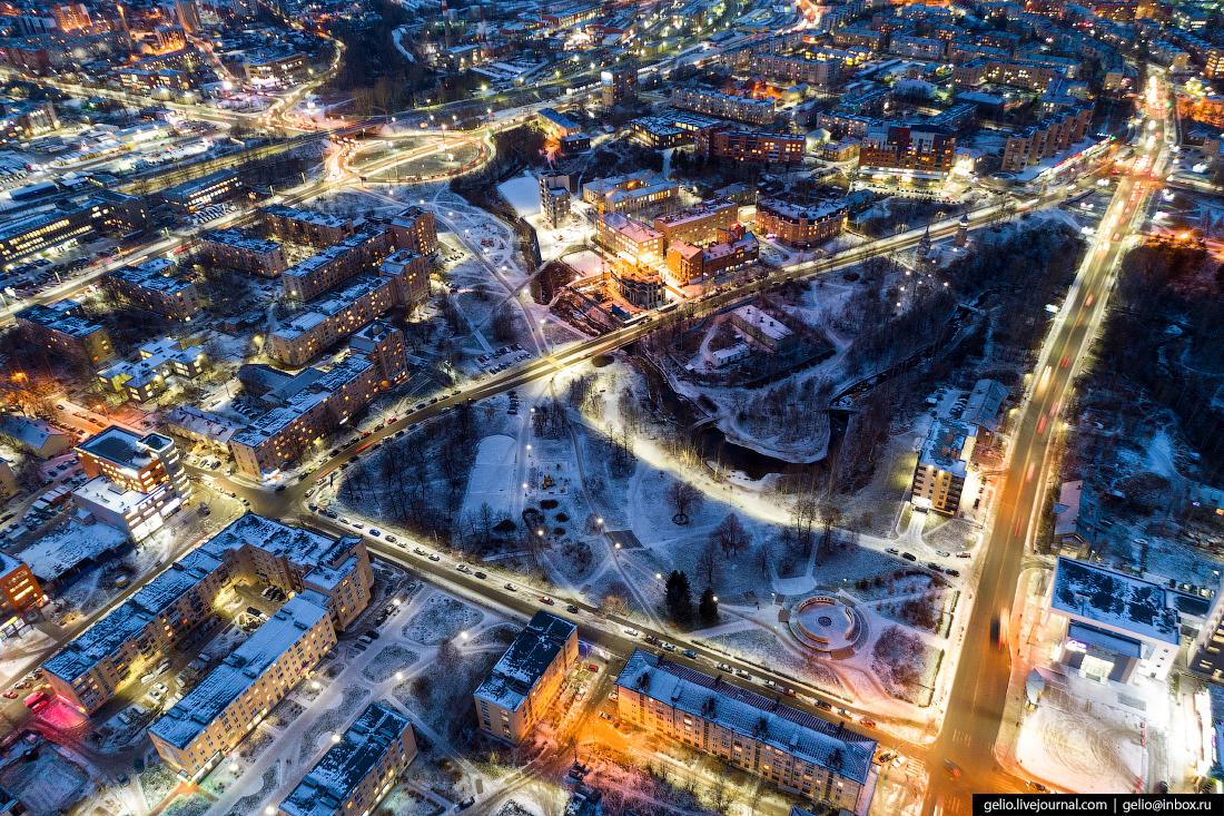 Петрозаводск с высоты, парк 50-летия Пионерской организации