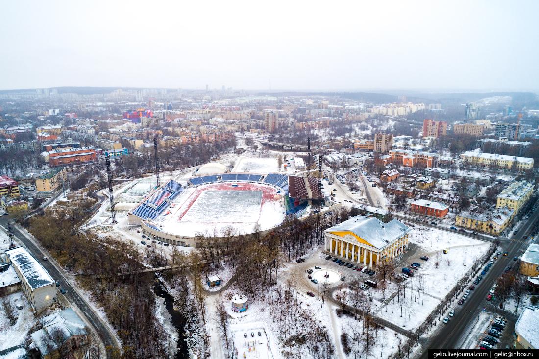 Петрозаводск с высоты, стадион спартак