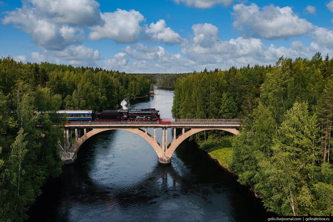 Рускеальский экспресс, паровоз, карелия, мост