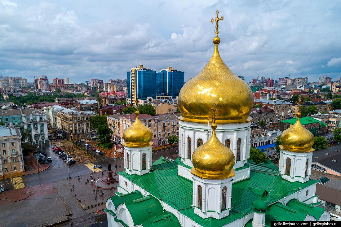 Ростов-на-Дону с высоты Кафедральный собор во имя Рождества Пресвятой Богородицы