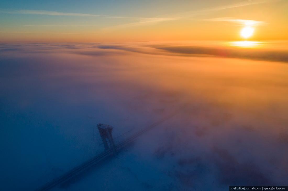 Салехард с высоты, мост факел