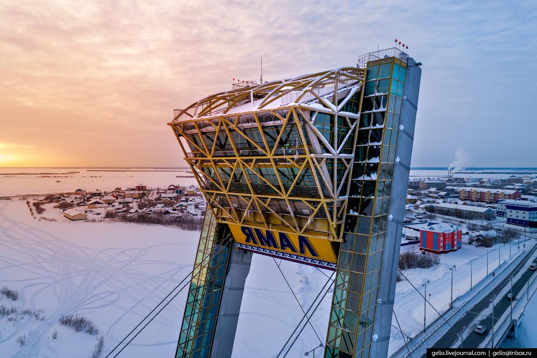Салехард с высоты, мост факел, Ямал