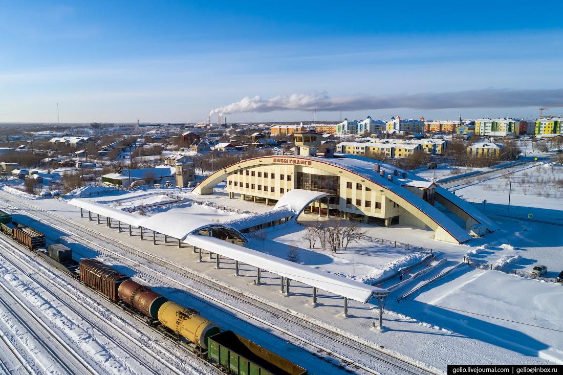 Лабытнанги с высоты, вокзал, железная дорога
