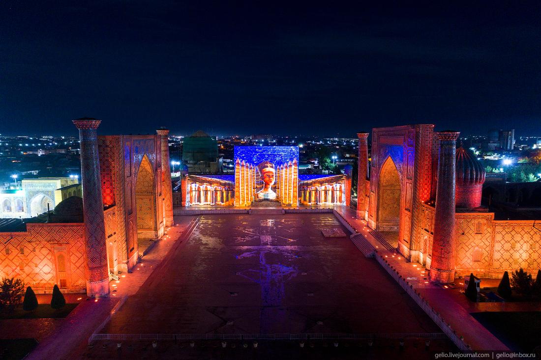 Фото Самарканд площадь регистан лазерное шоу