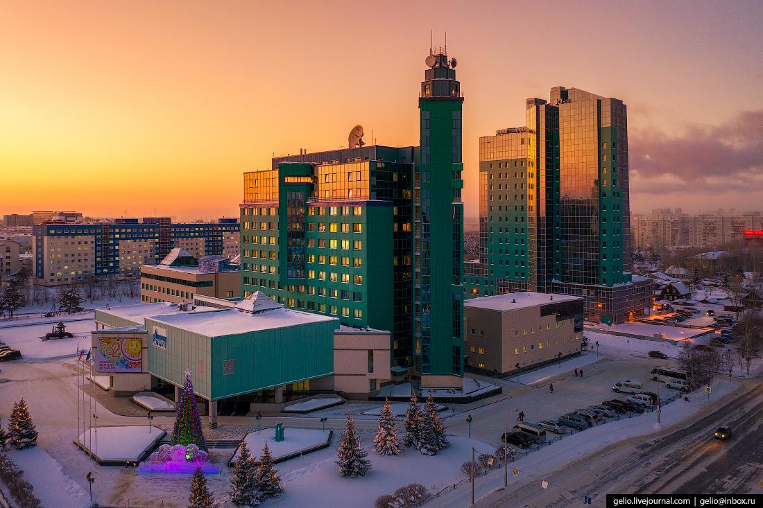 Зимний Сургут с высоты Газпром трансгаз