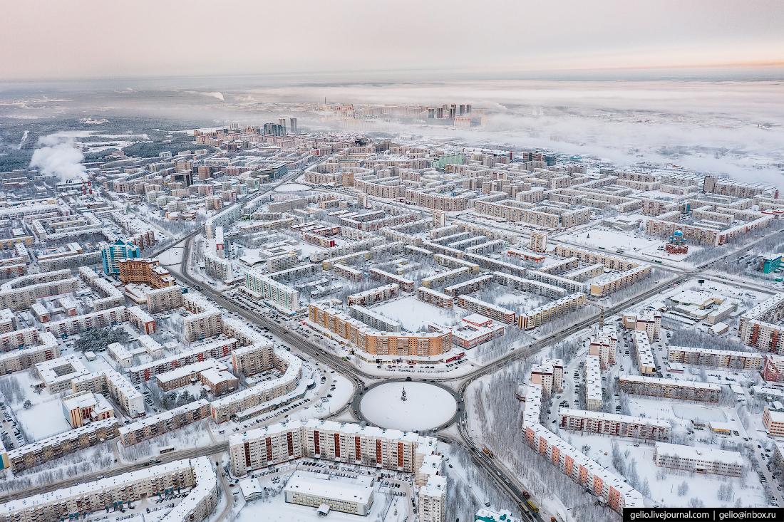 Зимний Сургут с высоты кольцо