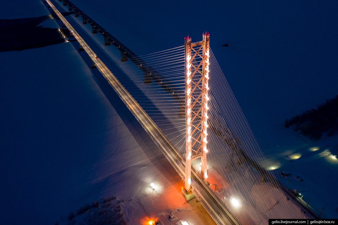Зимний Сургут с высоты югорский Мост через Обь