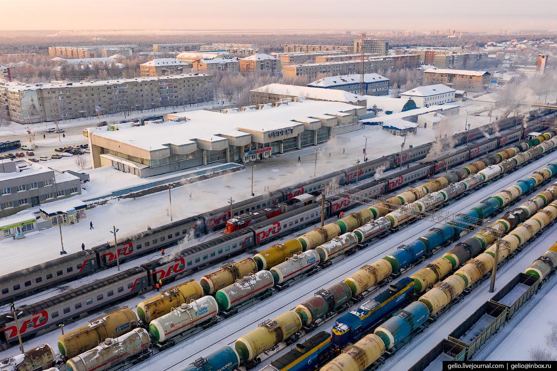 Зимний Сургут с высоты вокзал