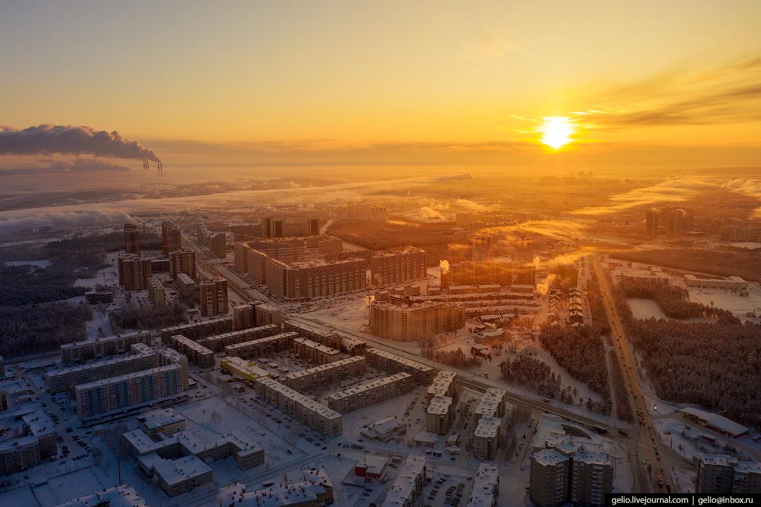 Зимний Сургут с высоты