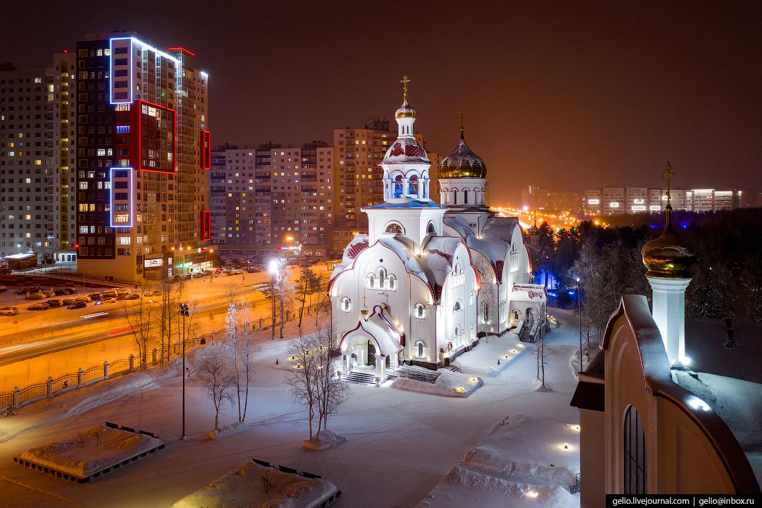 Зимний Сургут с высоты Храм Георгия Победоносца