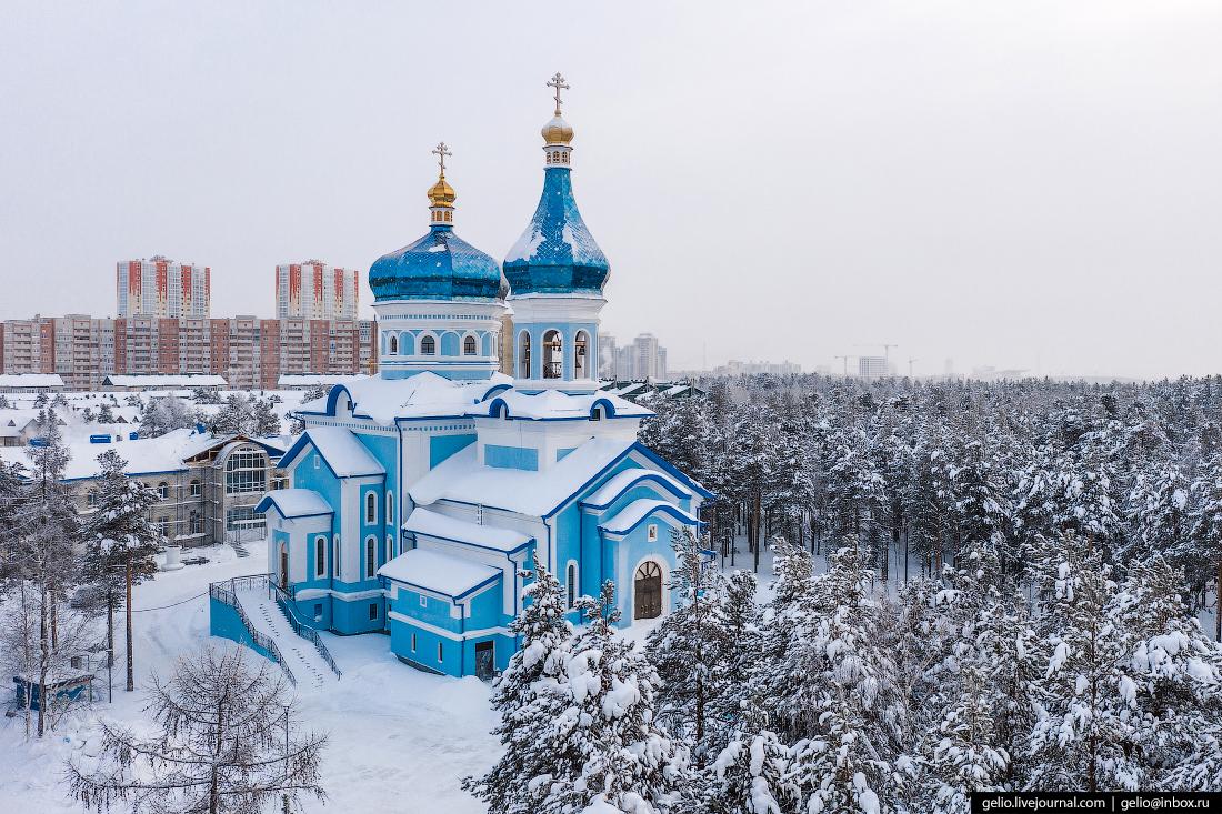 Зимний Сургут с высоты Храм в честь иконы Божьей Матери умиление