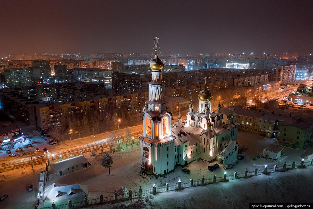 Зимний Сургут с высоты Кафедральный собор Преображения Господа Иисуса Христа