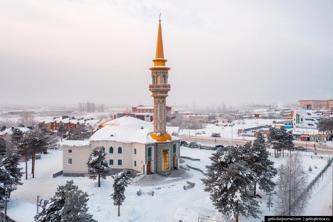 Зимний Сургут с высоты Соборная мечеть Сургута