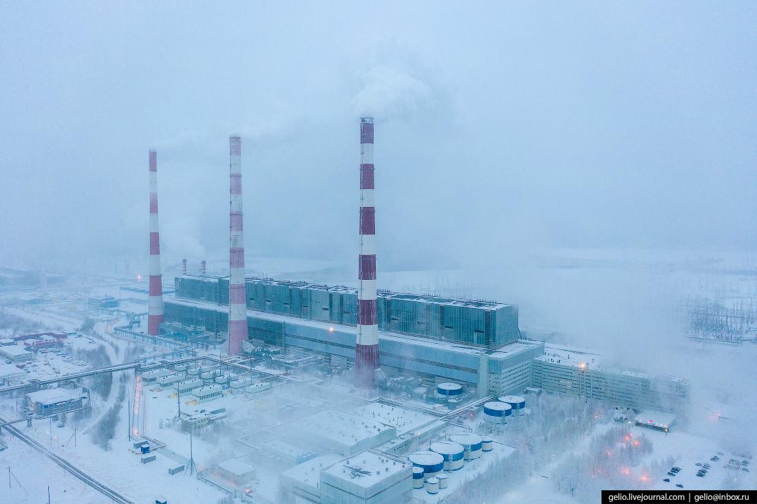 Зимний Сургут с высоты Сургутская ГРЭС-2