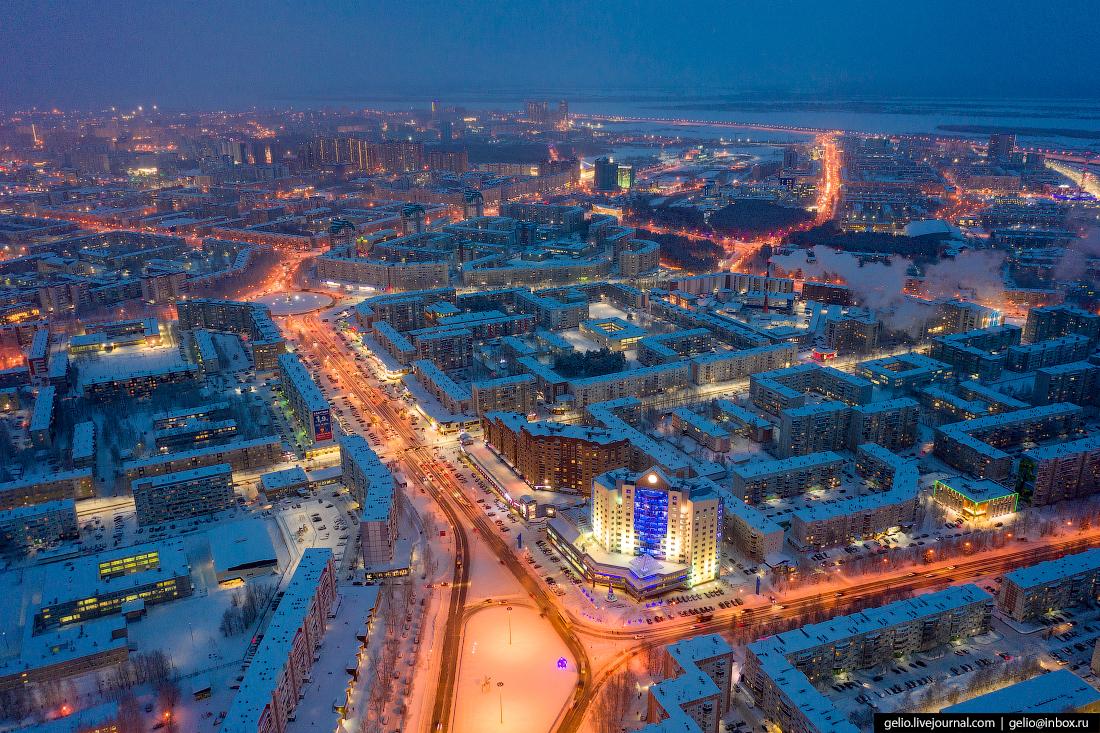 Зимний Сургут с высоты Проспект Ленина