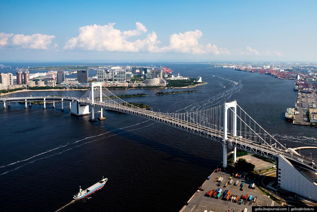 Обои небо, огни, бухта, Япония, Токио, островки, Токио башня ... | 734x1100