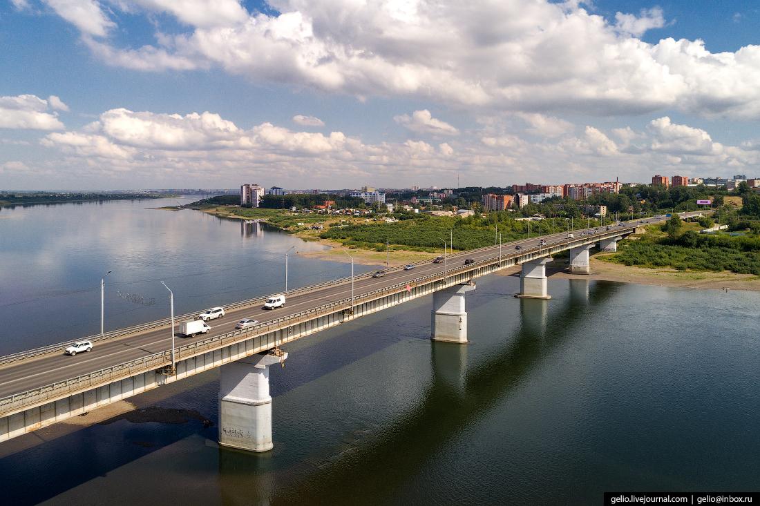 Томск с высоты Коммунальный мост