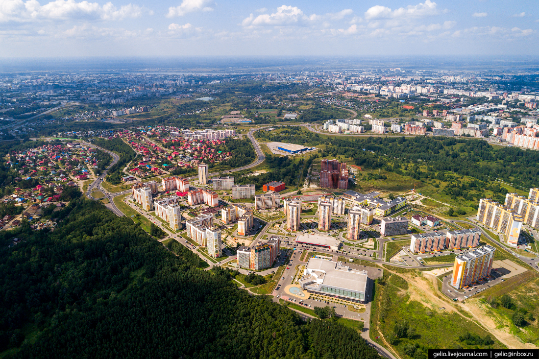 Томск с высоты Микрорайон Зелёные горки