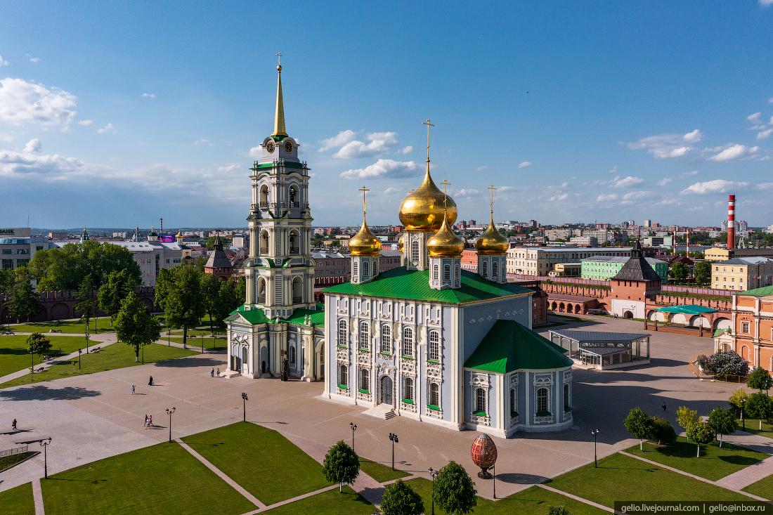 тула с высоты Успенский собор, тульский кремль