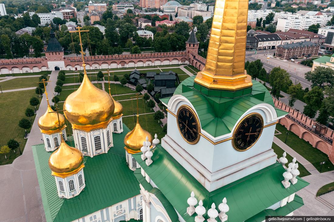 тула с высоты Успенский собор, тульский кремль, часы