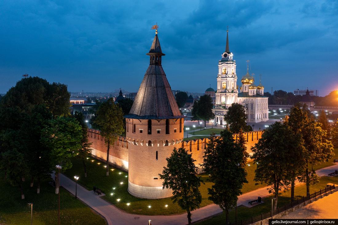 тула с высоты, тульский кремль, спасская башня