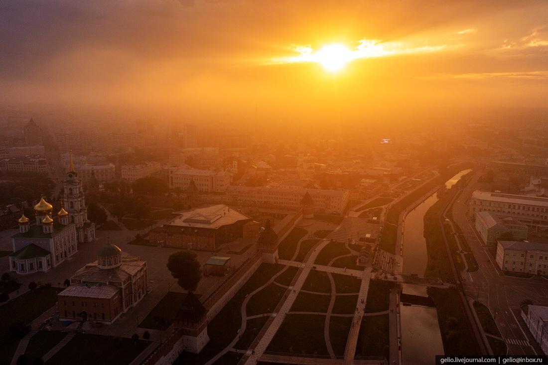 тула с высоты, закат, тульский кремль