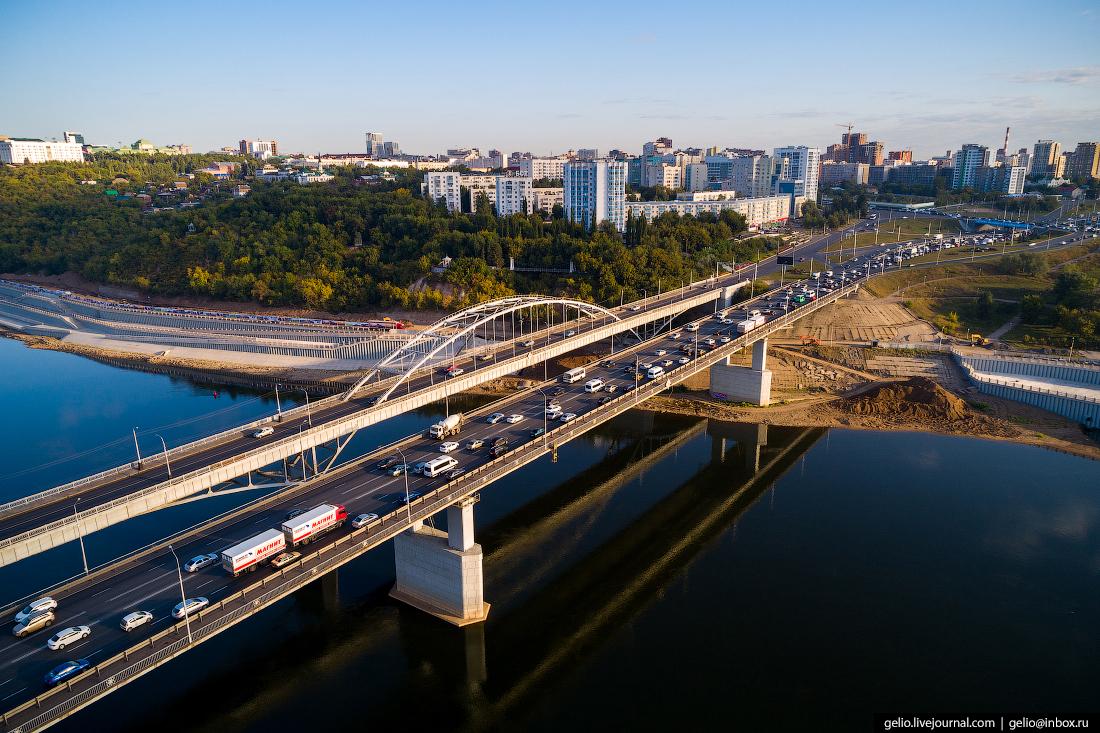 Уфа с высоты, мосты через реку Белая