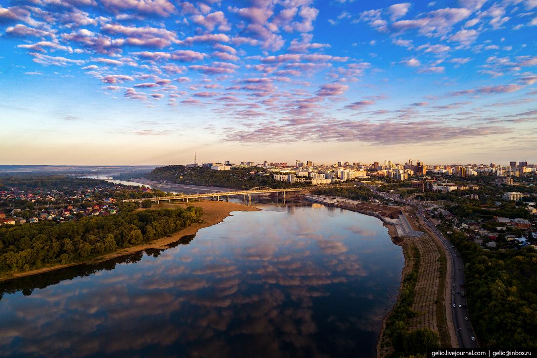 Уфа с высоты, река Белая
