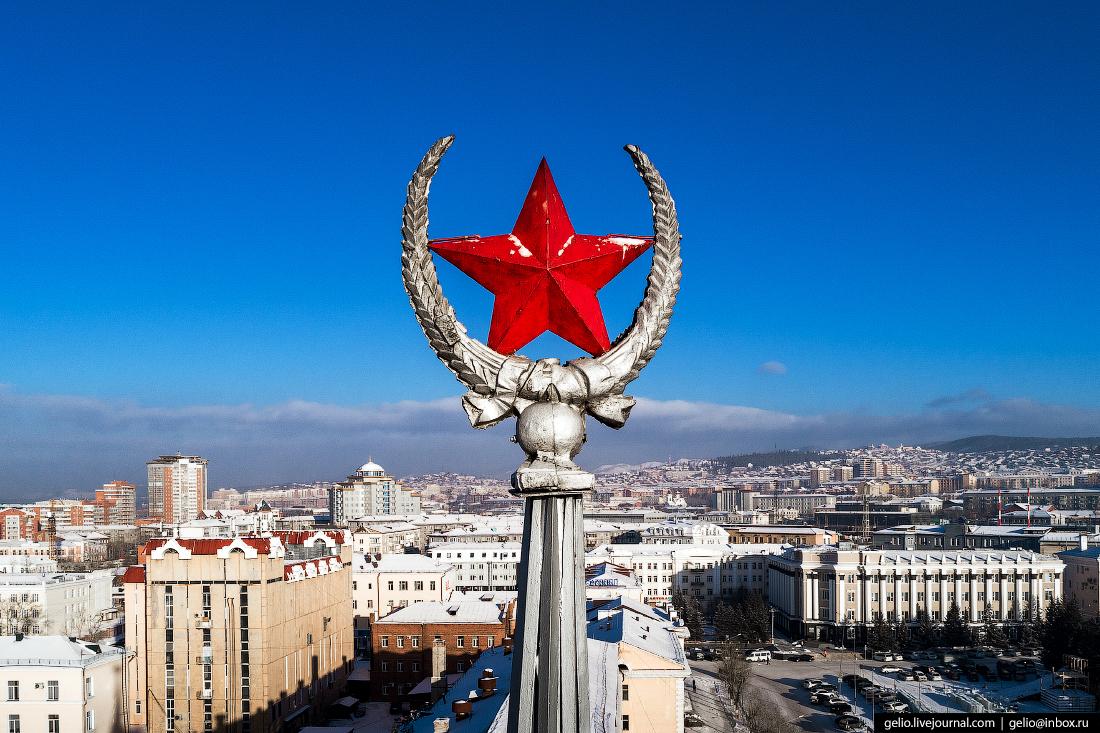 Забайкаллес, шпиль звезда, Улан-Удэ с высоты