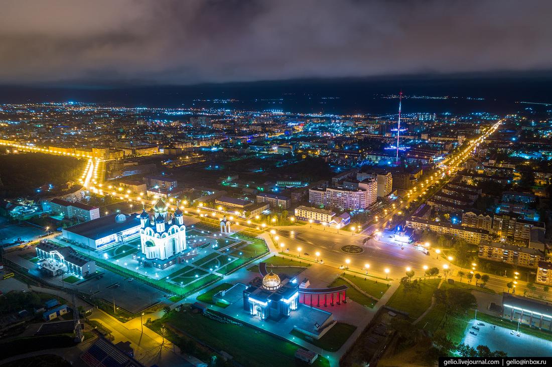 Южно-Сахалинск с высоты Площадь Победы