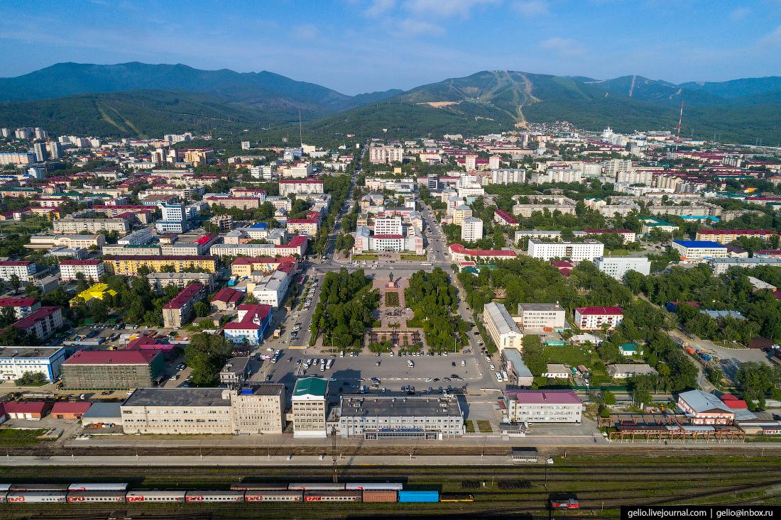 Южно-Сахалинск с высоты вокзал