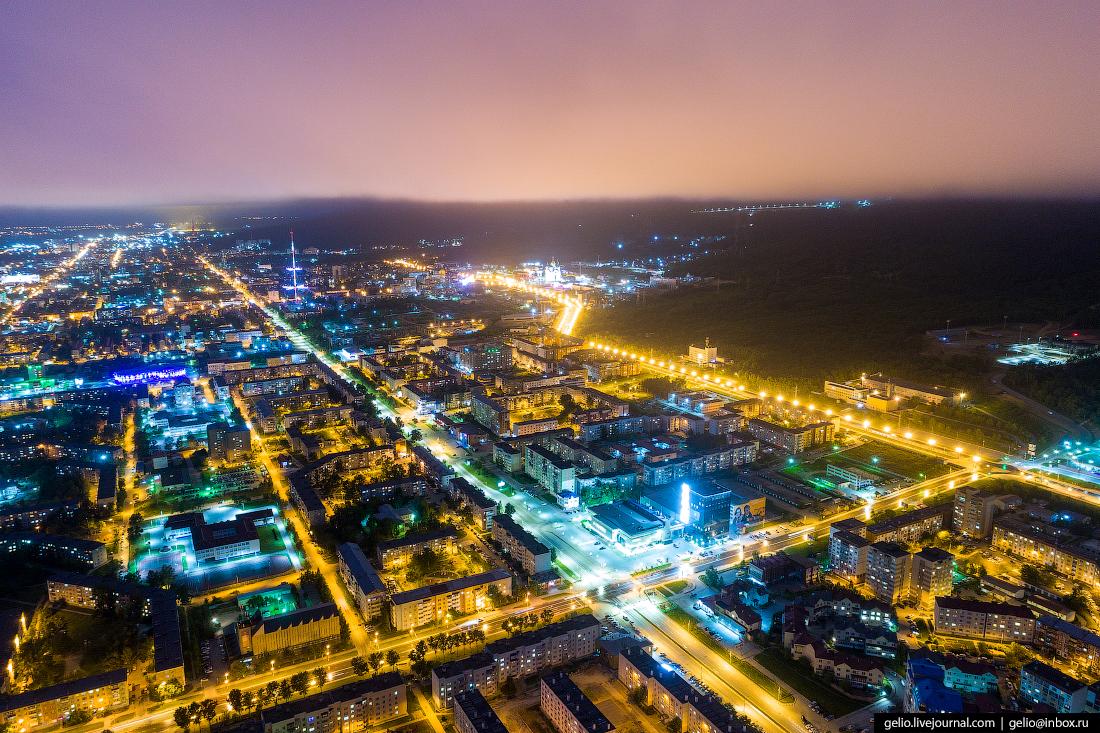 Южно-Сахалинск с высоты Комсомольская улица