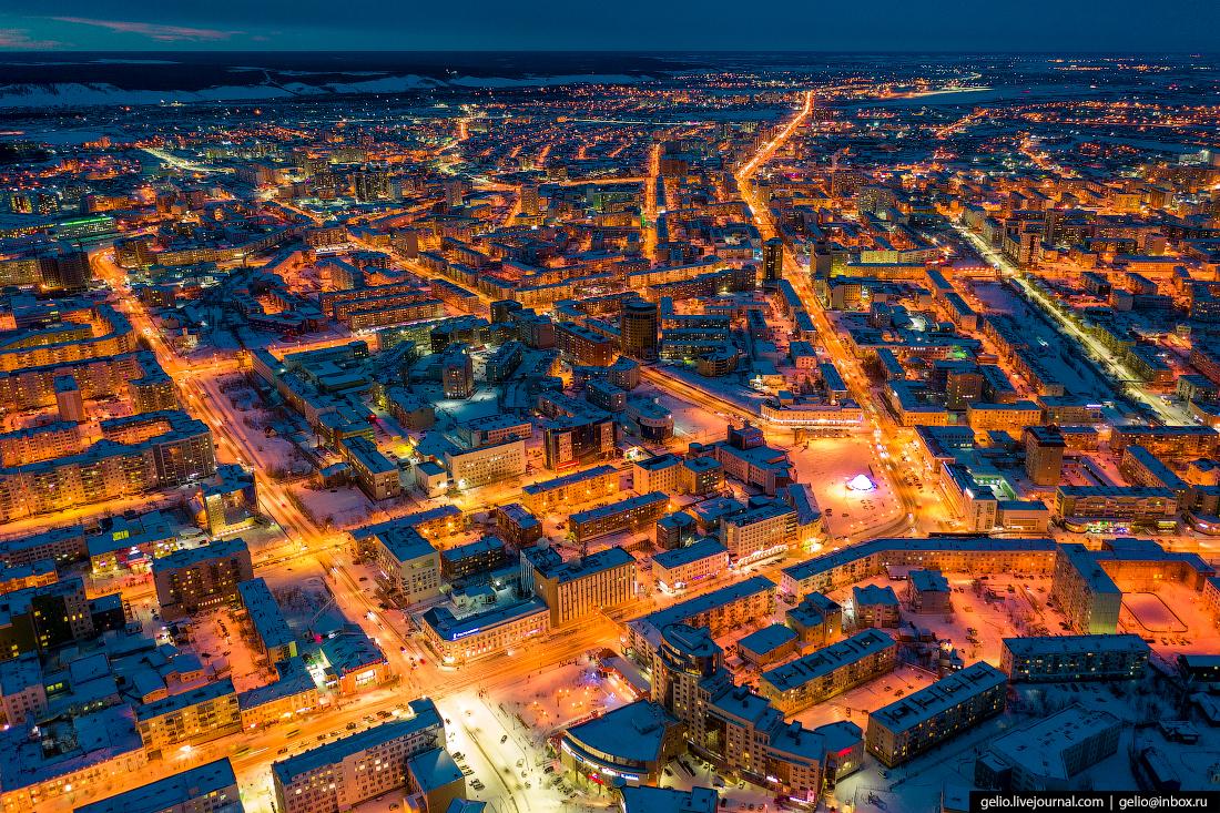 Якутск с высоты проспект Ленина