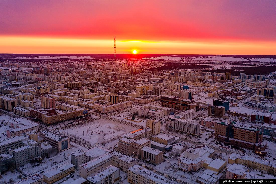 Якутск с высоты Площадь Ленина